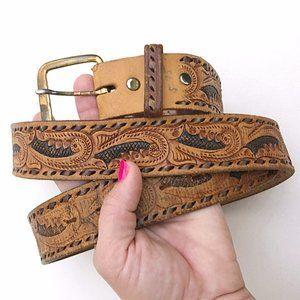 WESTERN Men's Brown Aztec Woven Leather Belt 38